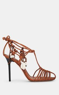 ALTUZARRA Tullio Braided Leather Ankle-Wrap Sandals Cognac ~ brown strappy heels