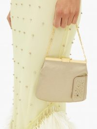BIENEN-DAVIS 4AM Gold Odyssey crystal and satin clutch ~ luxe vintage style evening bag