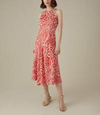 Karen Millen Animal Print Midi Dress in RED/MULTI / strappy shoulder dresses