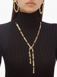 CHLOÉ Anouck crinkle-effect brass necklace ~ statement piece