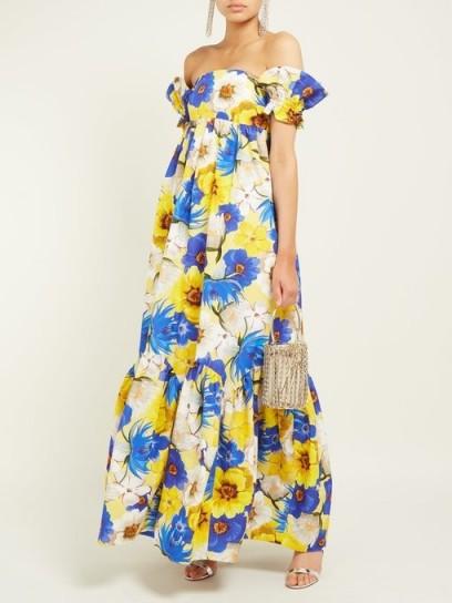 BORGO DE NOR Antigone floral-print cotton-blend dress in yellow ~ feminine summer maxi