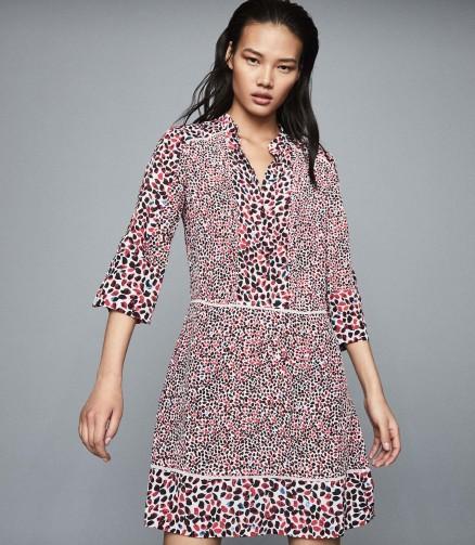 REISS ANUSH FLORAL PRINTED TEA DRESS RED ~ summer dresses