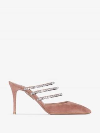 Aquazzura Donata 85mm Crystal-Embellished Mules – glamorous heels