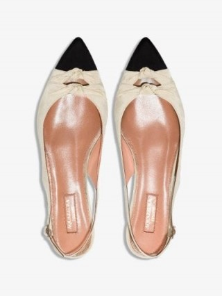 Aquazzura Neutral Mondaine Leather Slingback Pumps / chic point toe flats