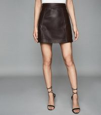 REISS ARDEN LEATHER MINI SKIRT CHOCOLATE ~ dark-brown luxe skirts