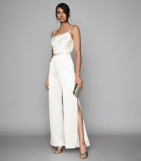REISS ARIZONA SATIN COWL NECK JUMPSUIT IVORY ~ luxe event wear