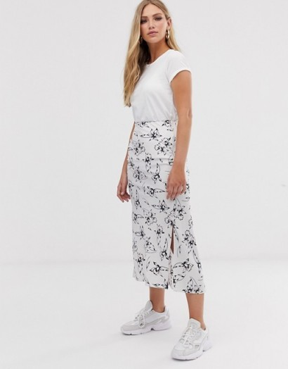 ASOS DESIGN bias cut satin midi skirt with splits in silver floral print