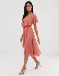 ASOS DESIGN cape back dipped hem midi dress – rose-pink floaty party dress