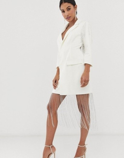 ASOS DESIGN embellished fringe blazer dress in ivory – evening glamour - flipped