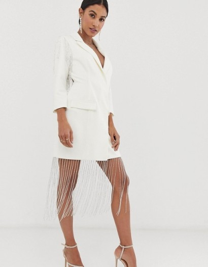 ASOS DESIGN embellished fringe blazer dress in ivory – evening glamour