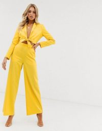 ASOS DESIGN extreme high waist tie front suit co-ord | yellow summer party trouser set