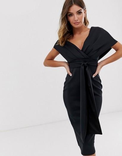 ASOS DESIGN fallen shoulder midi pencil dress with tie detail – lbd
