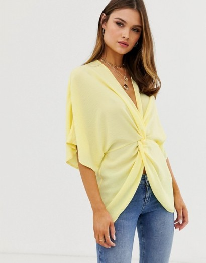 ASOS DESIGN knot front top with kimono sleeve lemon | yellow oriental inspired tops