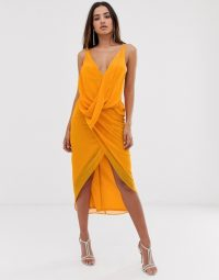 ASOS DESIGN midi dress in soft chiffon drape with wrap neck yellow