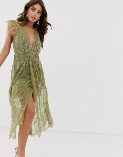 ASOS DESIGN midi dress with plunge bodice and linear vintage beading in khaki – glamorous occasion wear - flipped