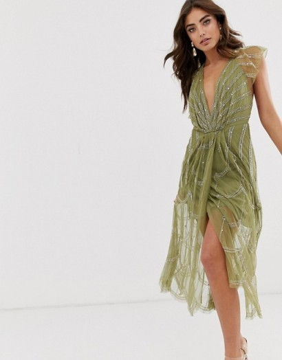 ASOS DESIGN midi dress with plunge bodice and linear vintage beading in khaki – glamorous occasion wear