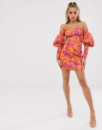 ASOS DESIGN off shoulder long sleeve floral mini dress ~ bright bardot