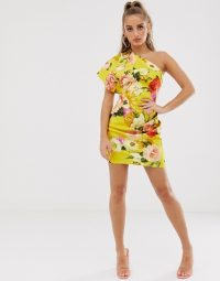 ASOS DESIGN one shoulder strap detail blossom floral mini dress yellow