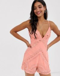 ASOS DESIGN plunge neck cami playsuit with shell embellishment Coral