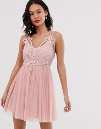 ASOS DESIGN Premium lace top tulle cami mini dress in blush – pink fit and flare prom frock