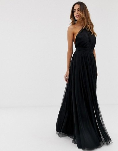ASOS DESIGN premium one shoulder tulle maxi dress in black – prom fashion - flipped