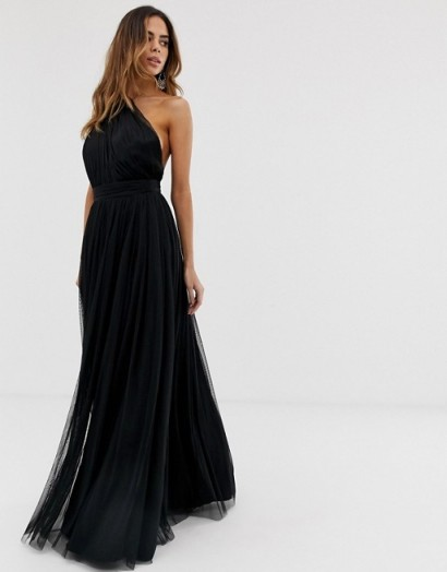 ASOS DESIGN premium one shoulder tulle maxi dress in black – prom fashion