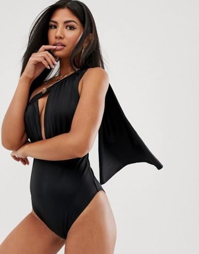 ASOS DESIGN slinky cape drape swimsuit in black | plunging swimwear