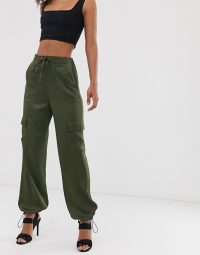 ASOS DESIGN Tall utility trousers with pocket detail khaki. GREEN CUFFED PANTS