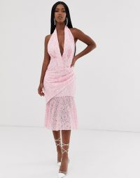 ASOS DESIGN two tone lace halter midi dress pink / ivory | plunging halterneck dresses