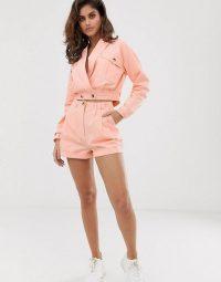 ASOS DESIGN washed pink linen cropped suit co-ord | summer shorts and jacket set