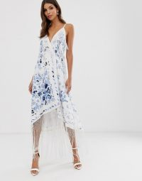 ASOS EDITION strappy wrap embroidered fringe dress ivory / blue