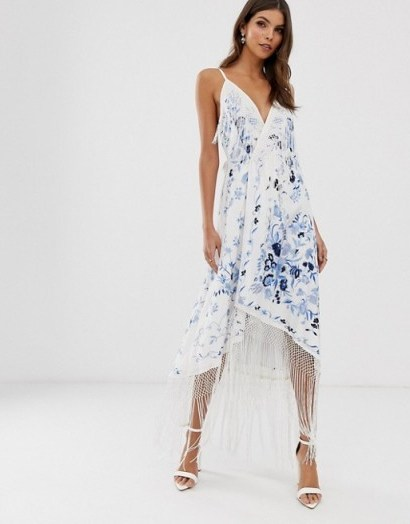 ASOS EDITION strappy wrap embroidered fringe dress ivory / blue - flipped