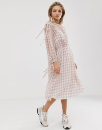 ASOS WHITE gingham ruched waist dress | tie detail check print summer dresses