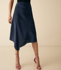 ASPEN SATIN SLIP SKIRT NAVY ~ fluid dark-blue skirts