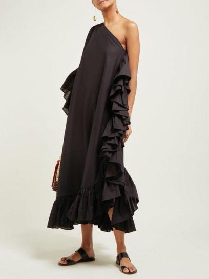 KALITA Asymmetric ruffled cotton dress in black ~ one shoulder ruffle trimmed summer dresses
