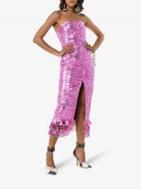 Attico Metallic Strapless Midi-Dress Pink / evening glamour
