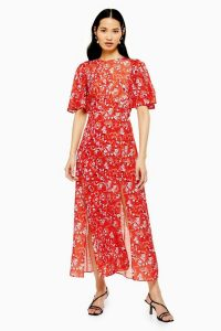 TOPSHOP AUSTIN Floral Star Print Angel Sleeve Midi Dress in Red / front split summer dresses