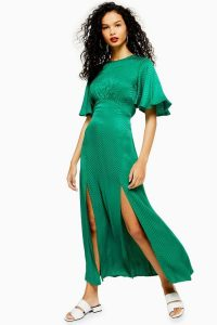 Topshop AUSTIN Jacquard Angel Sleeve Maxi Dress Green | long flutter sleeved dresses
