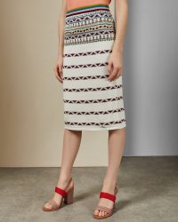 TED BAKER COARI Aztec knitted midi skirt