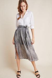 Maeve Annette Tied Midi Skirt ~ summer snake print skirts