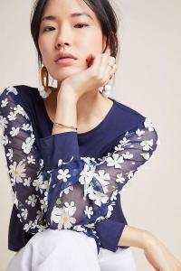 Eva Franco Becky Floral Applique Top Navy ~ blue and white daisy blouse