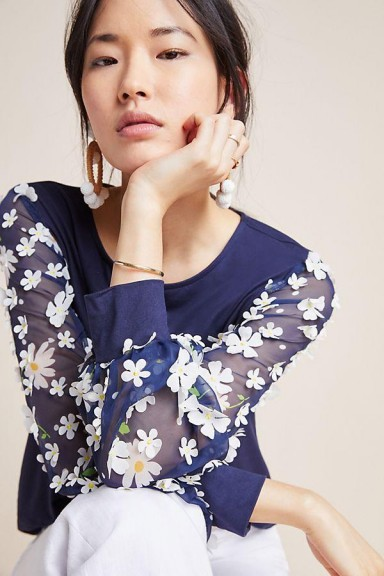 Eva Franco Becky Floral Applique Top Navy ~ blue and white daisy blouse