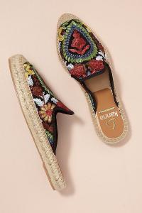 Kanna Embroidered-Raffia Slip-on Espadrilles in Black / flat floral mules