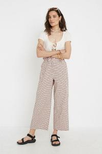 UO Seersucker Paperbag Waist Trousers in Beige / checked pants