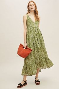 Current Air Elle Leaf-Print Dress in Green Motif | plunge front frill hem summer frock