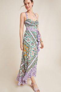 Maeve Amaline Ruffled-Printed Maxi Dress in Purple Motif | frill trimmed summer dresses