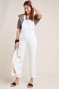 Anthropologie – Bina Denim Jumpsuit in White | summer dungarees