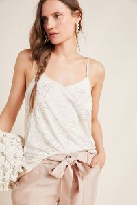 Anthropologie Alison Beaded Cami in Neutral | embellished skinny strap tops
