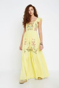 Violet Skye Yellow Frill Maxi Dress | long floral embroidered summer frock