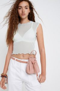 UO Mini Bucket Belt Bag in Rose | small ping bags | cute little handbag / fanny pack